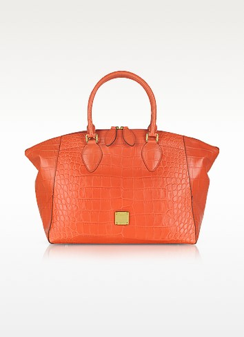 First Lady - Croco-Embossed Leather Bowler Bag - MCM