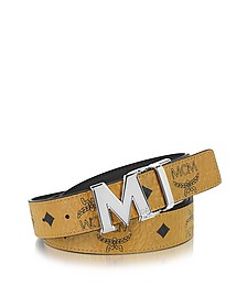 Color Visetos Cognac/Black Coated Canvas Reversible Belt - MCM