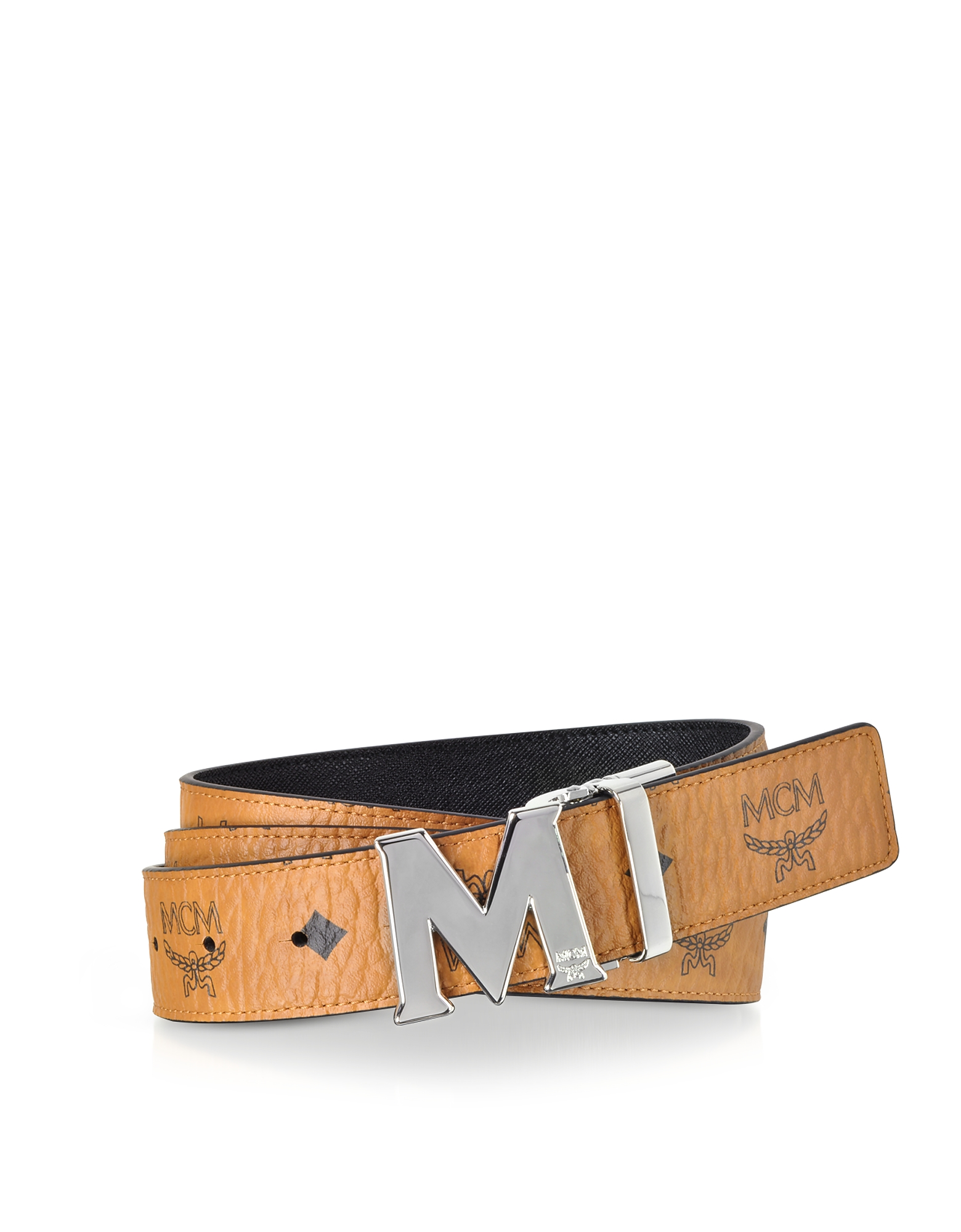 Cognac Visetos Claus M Reversible Belt w/Signature Buckle