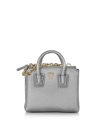 MCM - Spike Silver Laminated Leather Milla Mini Bag Card Case