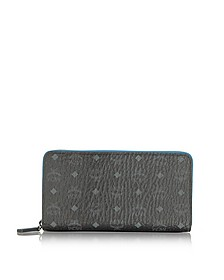 Color Visetos Black Coated Canvas Zip Around Wallet - MCM