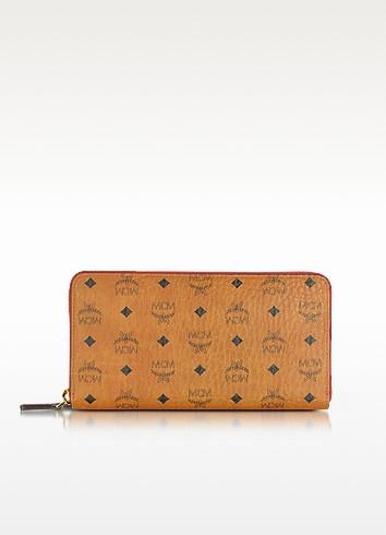 Color Visetos Cognac Coated Canvas Zip Around Wallet - MCM