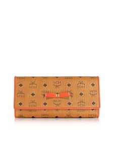 Mina Visetos Cognac 3 Fold Large Wallet w/Zip Pocket - MCM