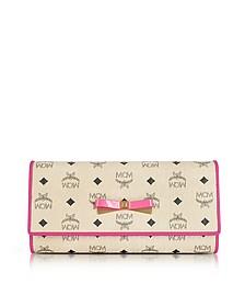 Mina Visetos Beige 3 Fold Large Wallet w/Zip Pocket - MCM