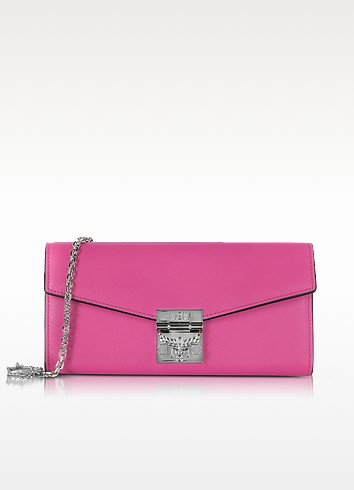 Patricia Electric Pink Leather 2 Fold Large Wallet w/Chain - MCM