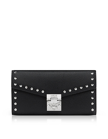 Large Studded Black Patricia Park Avenue Flap Wallet