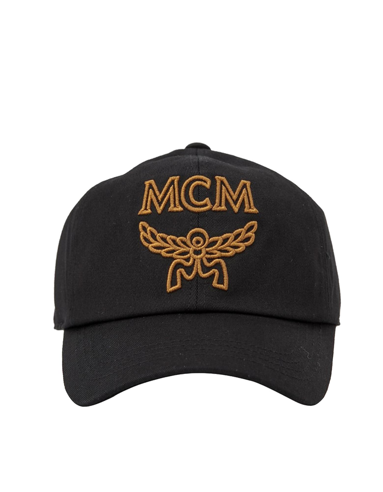 Cappello da Baseball in Gabardine di Cotone con Logo MCM