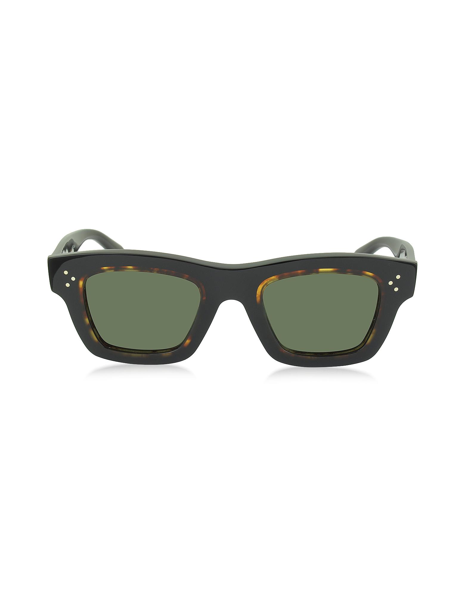 Céline Sunglasses, GABY CL 41396/S T7D70 Havana Acetate Square Frame Unisex Sunglasses
