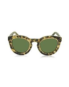 AGNES CL 41403/S T7H1E Havana Acetate Round Women's Sunglasses - Céline