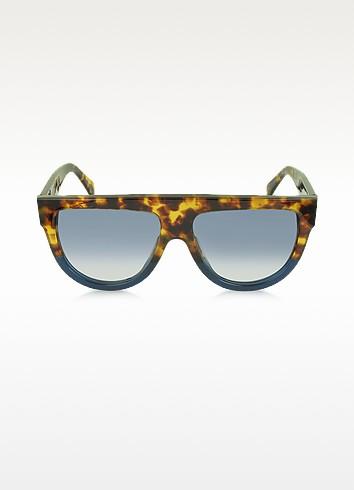 CL41026/S Shadow Havana Blue Acetate Sunglasses - Céline