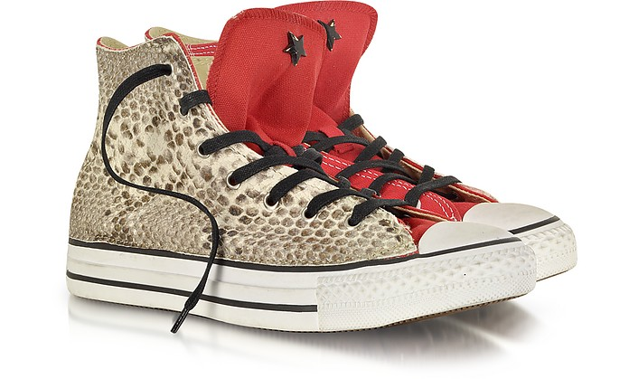 All Star High-top Red Canvas and Snake LTD Sneaker - Converse Limited Edition