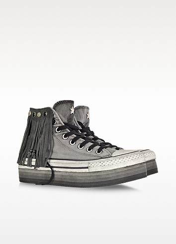 All Star High-top Indie Iron Gray Canvas LTD Fringed Sneaker - Converse Limited Edition