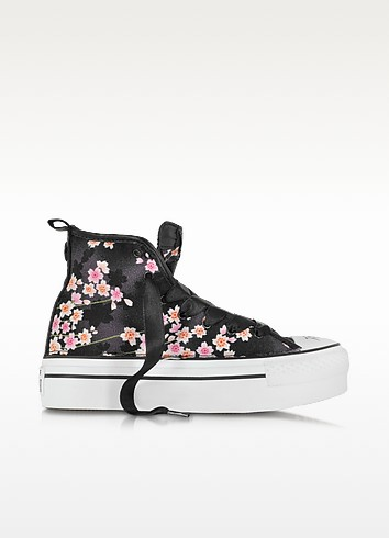 All Star Sneaker Nere a Fiori con Zeppa - Converse Limited Edition