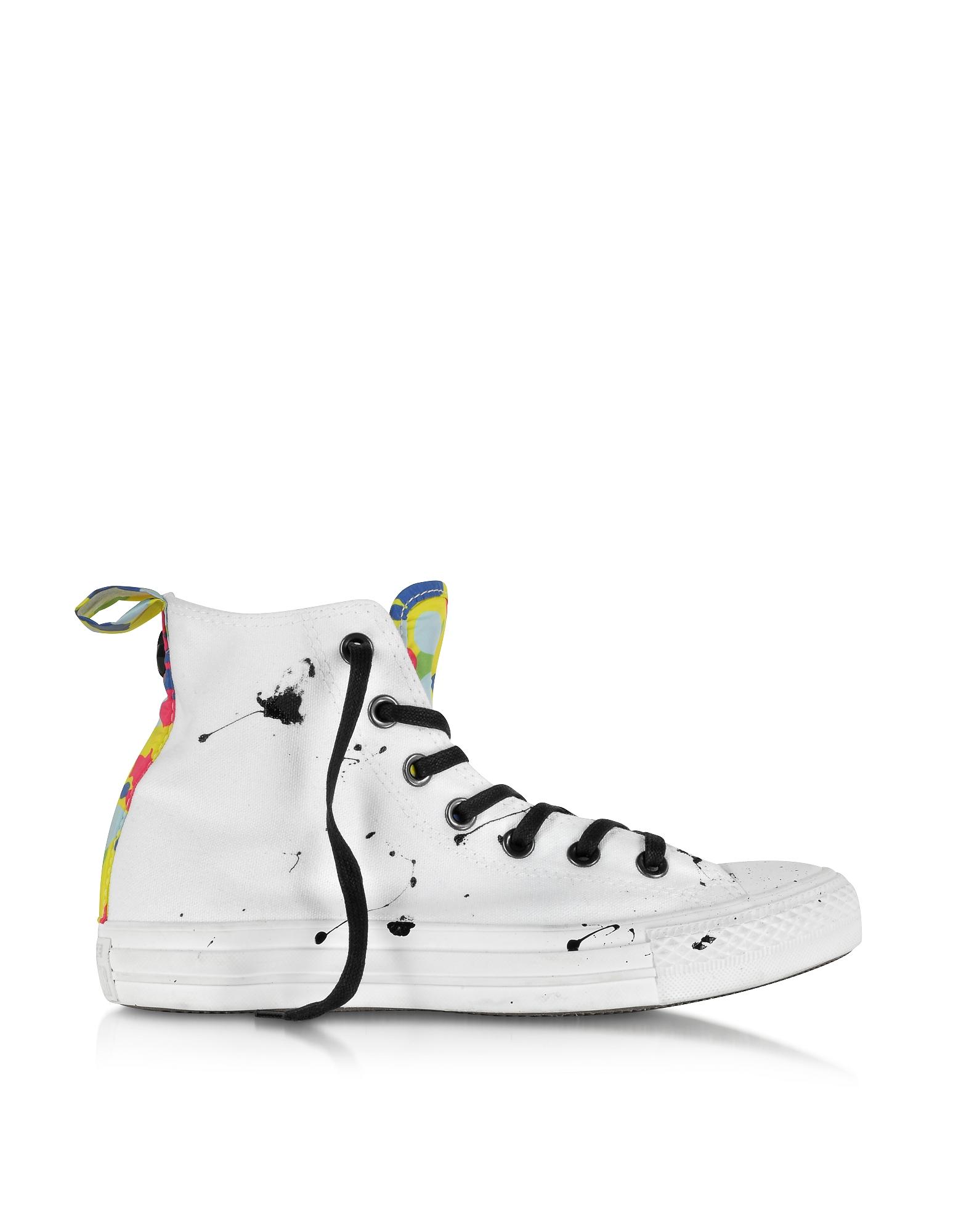 CT All Star - Высокие Кроссовки из Белой Ткани с Разноцветным Узором Камуфляж