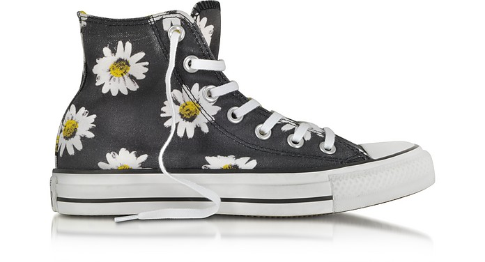 Chuck Taylor All Star Black and Citrus Daisy Printed Canvas High Top Sneaker - Converse Limited Edition