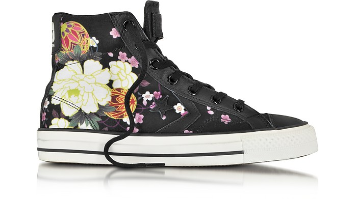Star Player Ev High Top Black/Hanami Canvas and Leather Sneaker - Converse Limited Edition