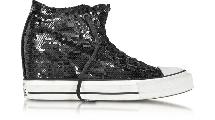All Star Mid Lux Black Sequins and Canvas Wedge Sneaker - Converse Limited Edition
