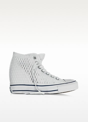 All Star Mid Lux White Crochet Canvas Wedge Sneaker - Converse Limited Edition