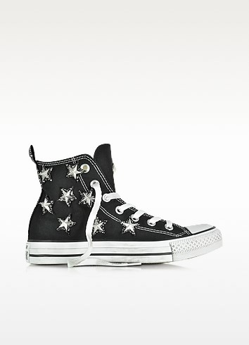 All Star Hi Black Canvas and Silver Stars Glitter Distressed Sneaker - Converse Limited Edition