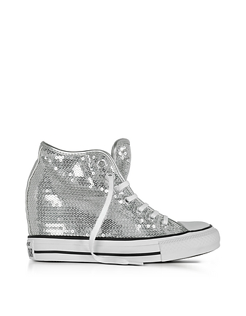Converse Limited Edition - Chuck Taylor All Star Mid Lux Sequins Silver Wedge Sneakers