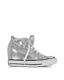Chuck Taylor All Star Mid Lux Sequins Silver Wedge Sneakers - Converse Limited Edition