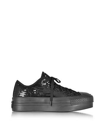 Converse Limited Edition - Chuck Taylor All Star Ox Black Platform Sequins Sneakers