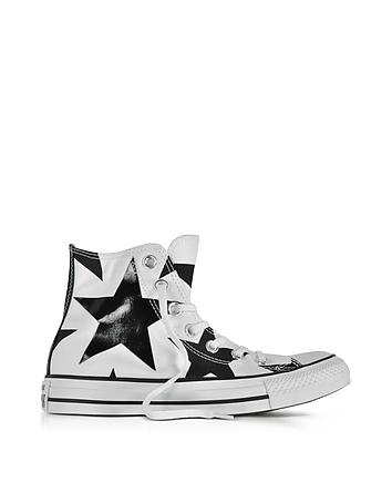 73d8eb80efe072 Chuck Taylor All Star High White Canvas W Black Big Stars de ...
