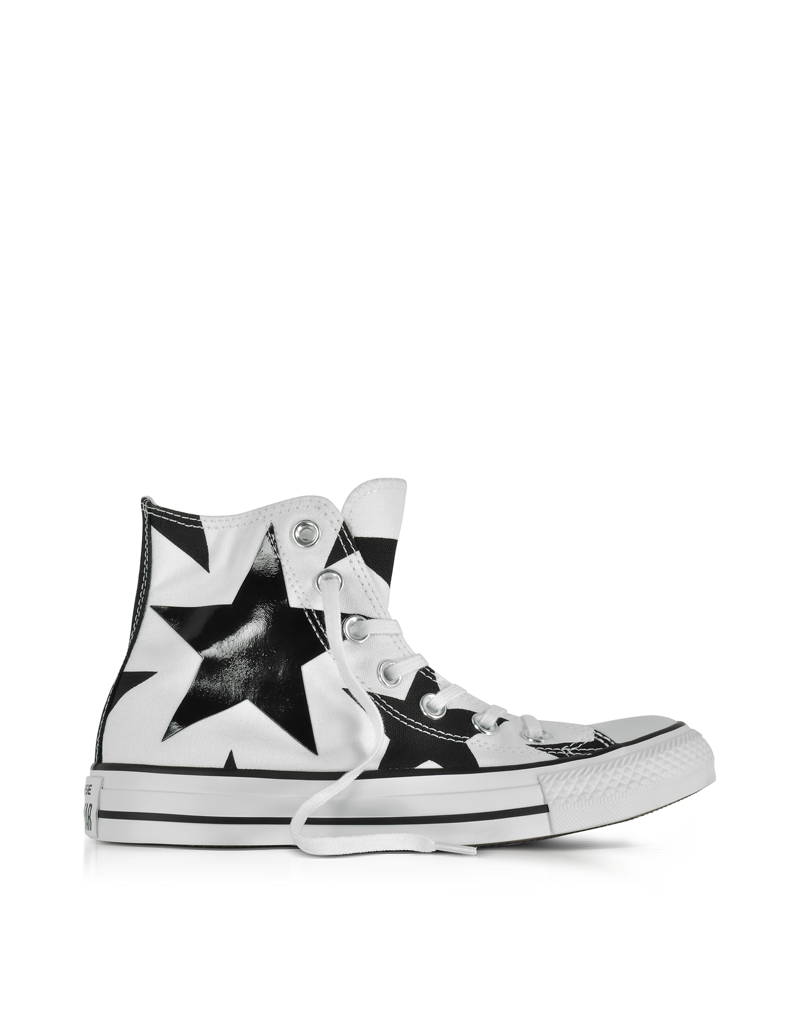 Converse Limited Edition Shoes, Chuck Taylor All Star High White Canvas W/Black Big Stars
