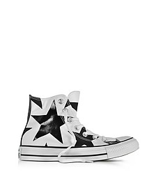 Chuck Taylor All Star High Sneakers in Canvas Bianco con Stelle Nere Oversize - Converse Limited Edition