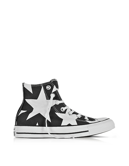 Image of Converse Limited Edition Chuck Taylor All Star High Sneakers in Canvas Nero con Stelle Bianche Oversize