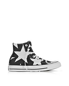 Chuck Taylor All Star High Black Canvas W/White Big Stars - Converse Limited Edition