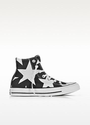 Chuck Taylor All Star High Black Canvas W/White Big Stars - Converse Limited Edition