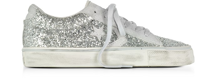Pro Leather Vulc Ox Distressed Leather & Silver Glitter Sneakers - Converse Limited Edition