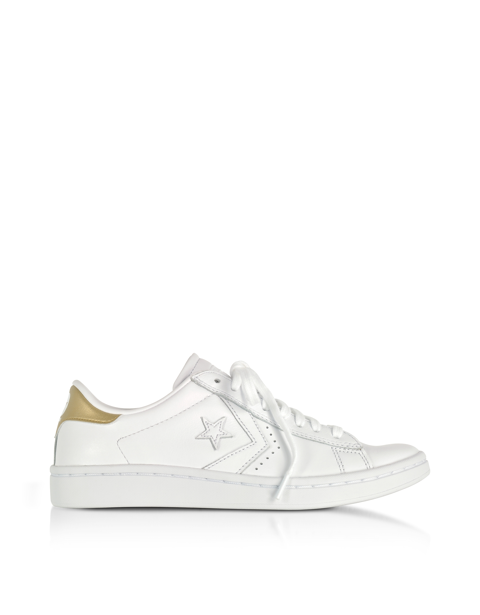 Converse Limited Edition Shoes, PL LP Ox White & Gold Leather Sneakers
