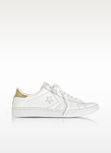 PL LP Ox White & Gold Leather Sneakers - Converse Limited Edition