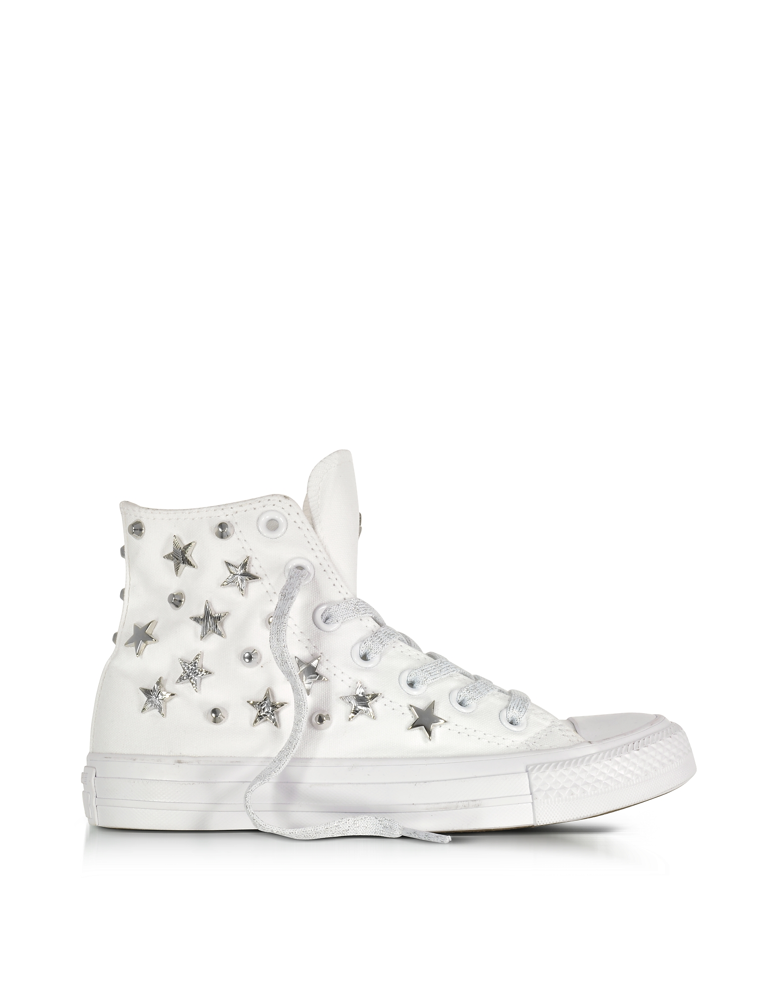 Converse Limited Edition Shoes, Chuck Taylor All Star Hi White Sneakers w/Stars and Studs