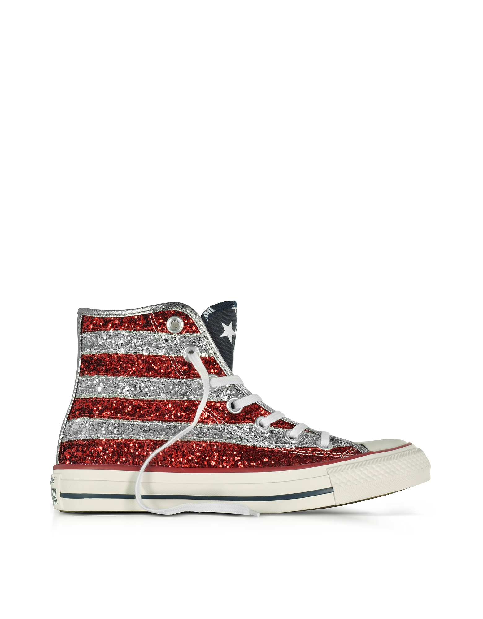 Converse Limited Edition Shoes, Chuck Taylor All Star Hi Silver and Red Glitter Sneakers