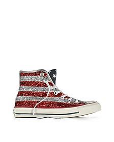 Chuck Taylor All Star Hi - Sneakers Montantes en Toile Pailletée Rouge et Argent - Converse Limited Edition