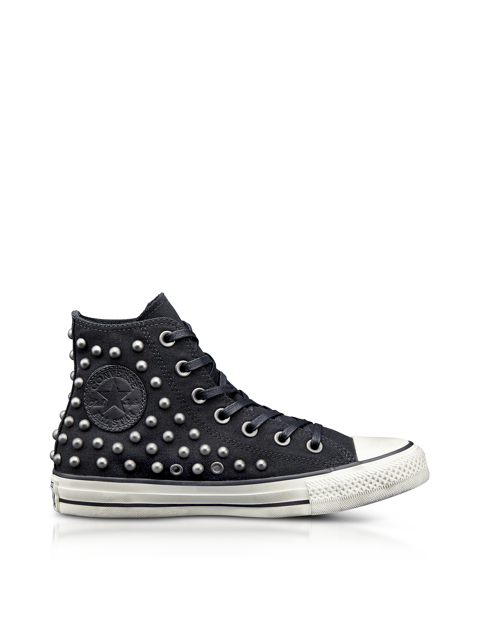Converse Limited Edition Shoes, Chuck Taylor All Star High Black Studded Canvas Sneakers