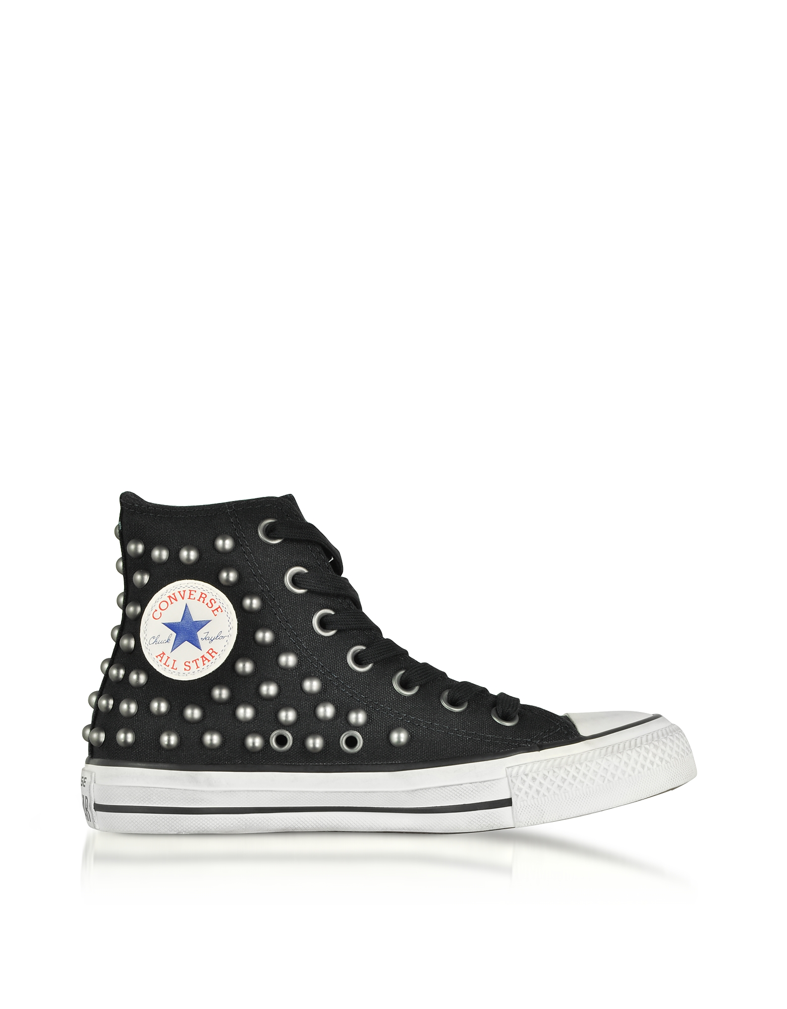 Chuck Taylor All Star High Sneakers in Canvas Nero con Borchie All-Over
