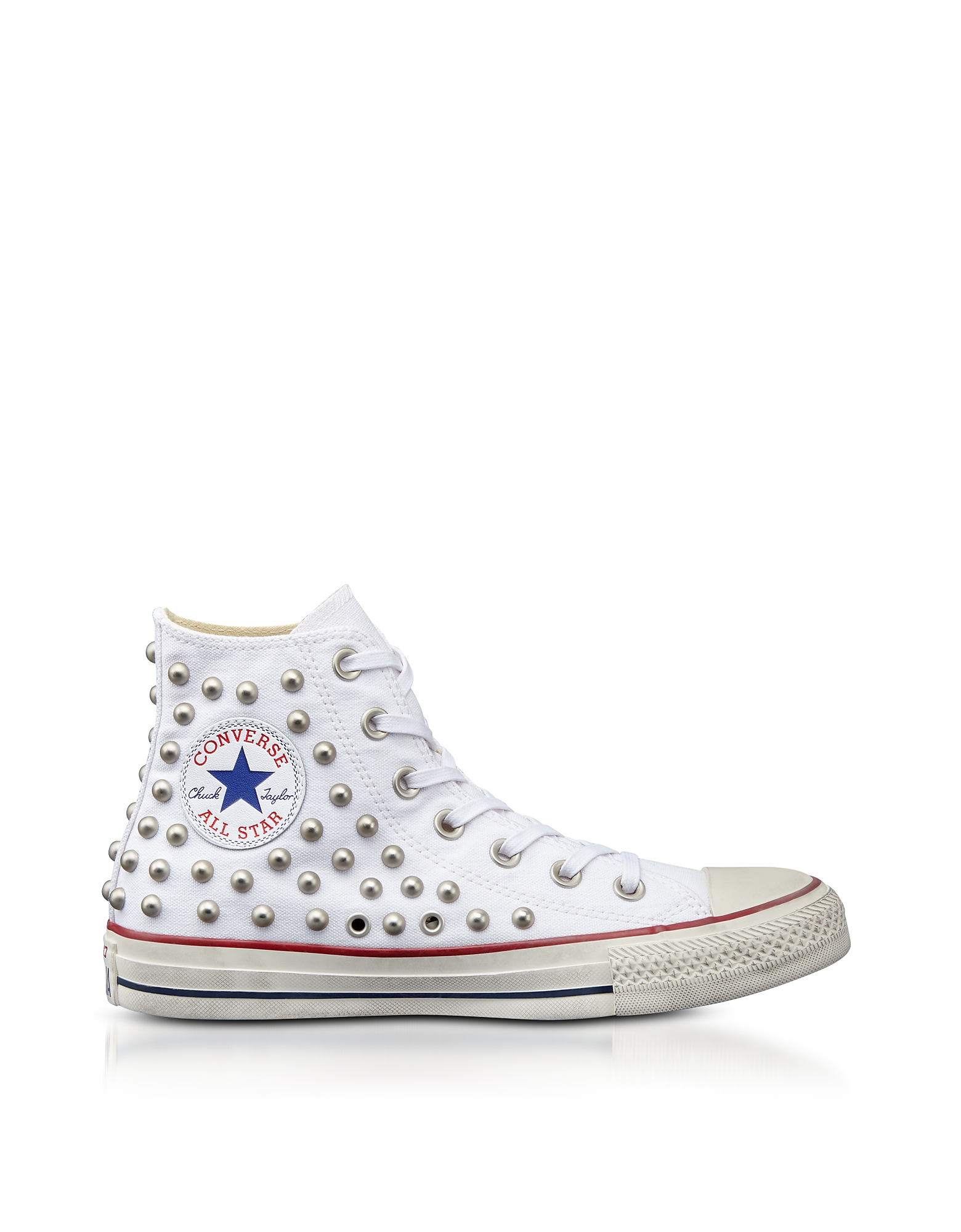Converse Limited Edition Shoes, Chuck Taylor All Star High White Studded Canvas Sneakers