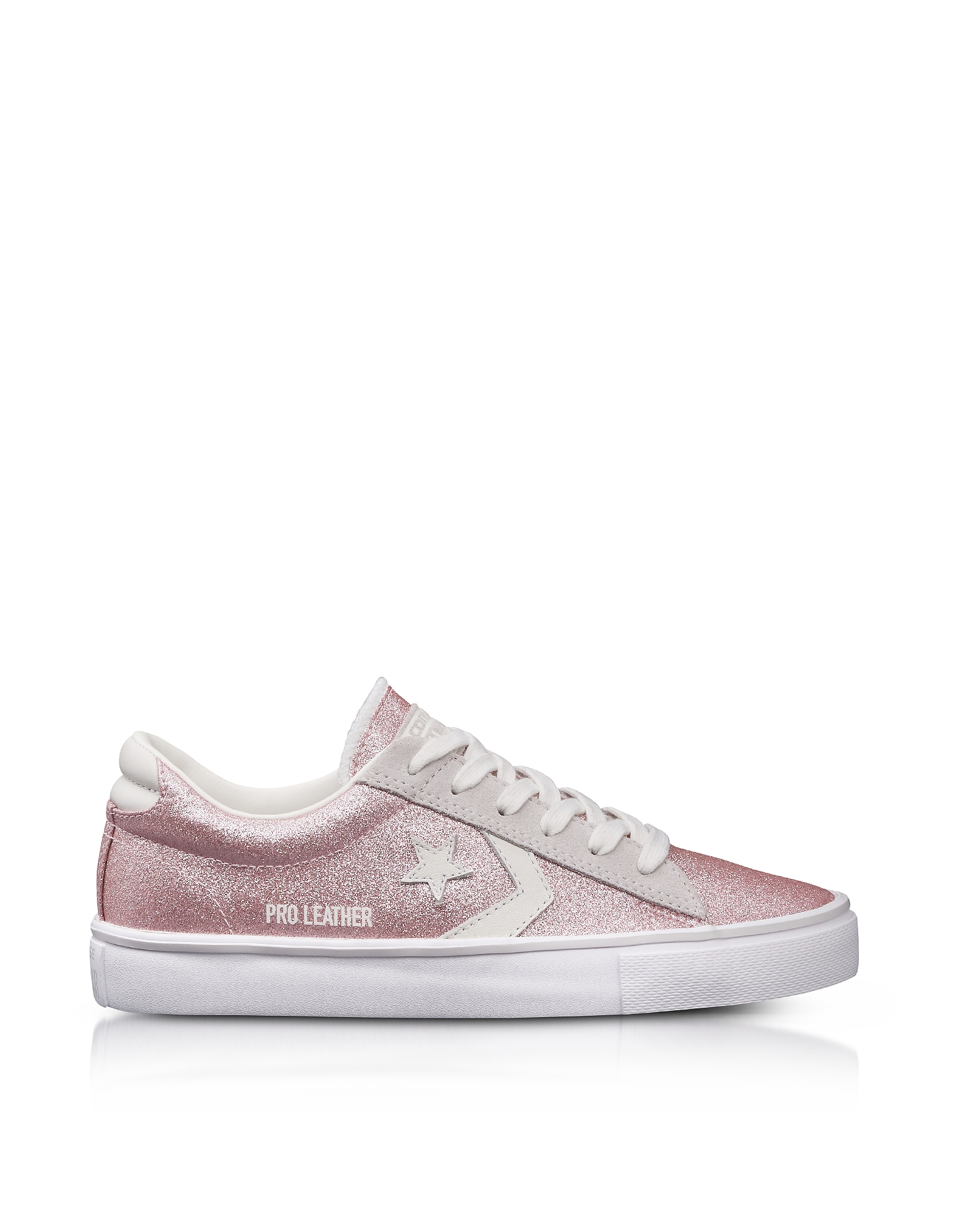 Converse Limited Edition Shoes, Pro Leather Vulc Blossom Pink Glitter and Suede Sneakers