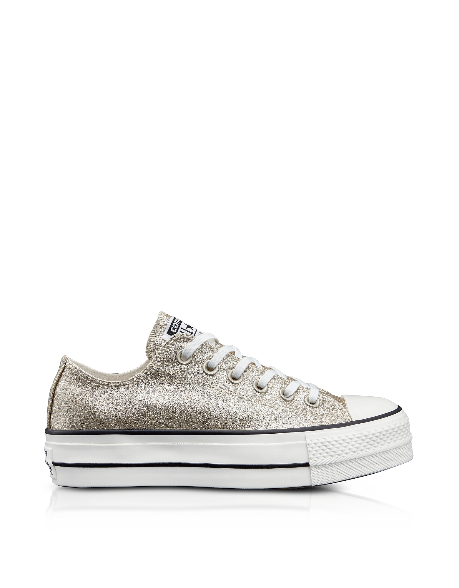 Converse Limited Edition Shoes, Chuck Taylor All Star High Light Gold Glitter Textured Canvas Flatfo