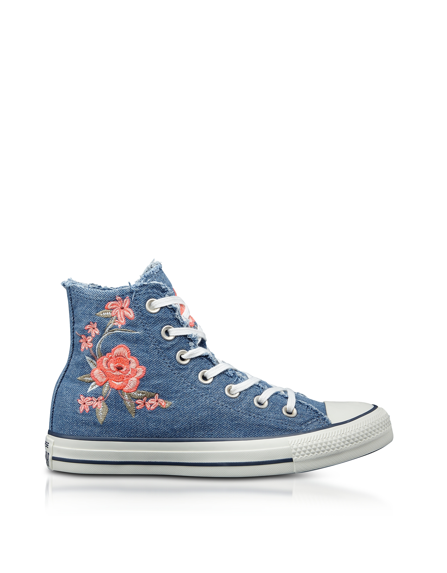 Converse Limited Edition Shoes, Chuck Taylor All Star High Denim Frayed Flower Women's Sneakers