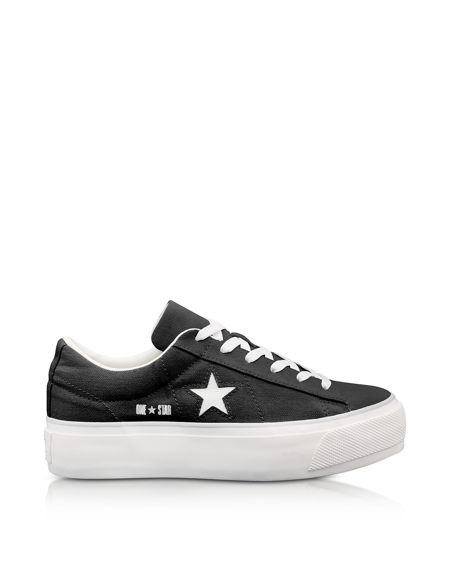 Converse Limited Edition Shoes, One Star Ox Black Canvas Flatform Sneakers