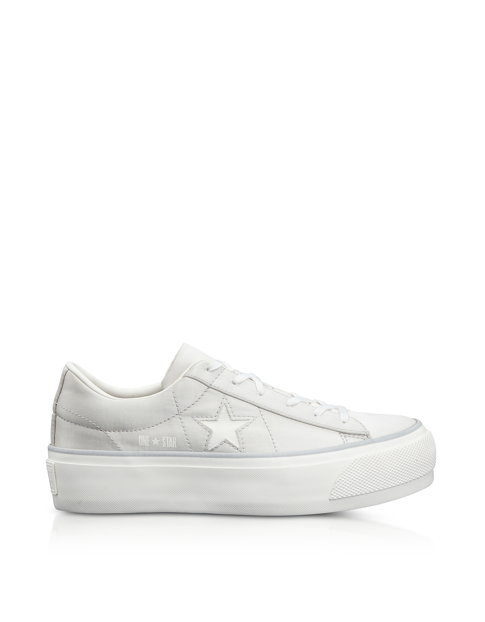 Converse Limited Edition Shoes, One Star Pearl Gray Satin Flatform Sneakers