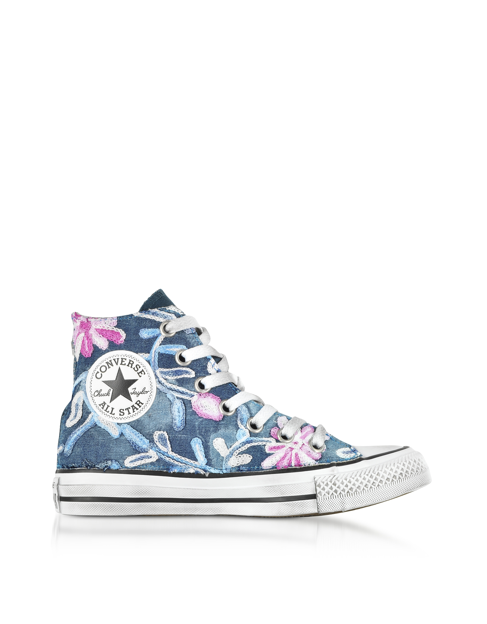 Converse Limited Edition Designer Shoes, Chuck Taylor All Star High Vintage Denim Flowers Sneakers