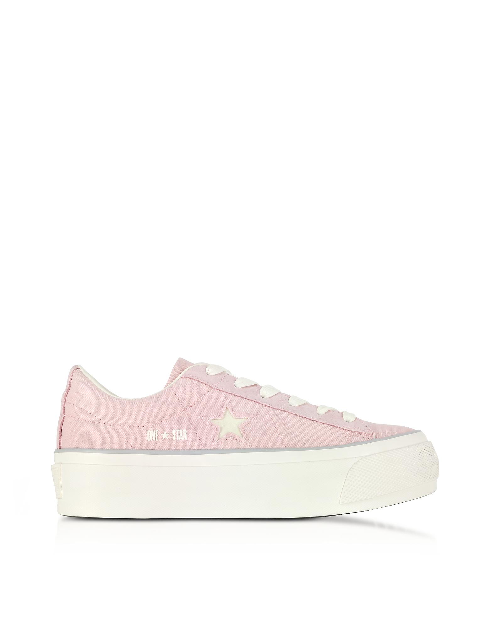 Une Star Ox Peau de Pêche Canvas Flatform Sneakers w/White Glitter Star