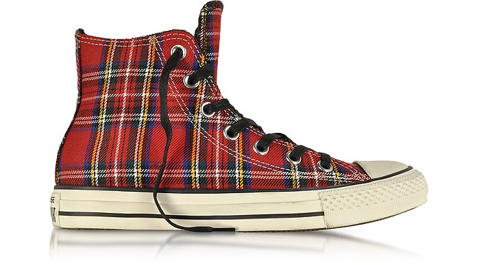 All Star HI Sneaker aus rotem Tartan - Converse Limited Edition