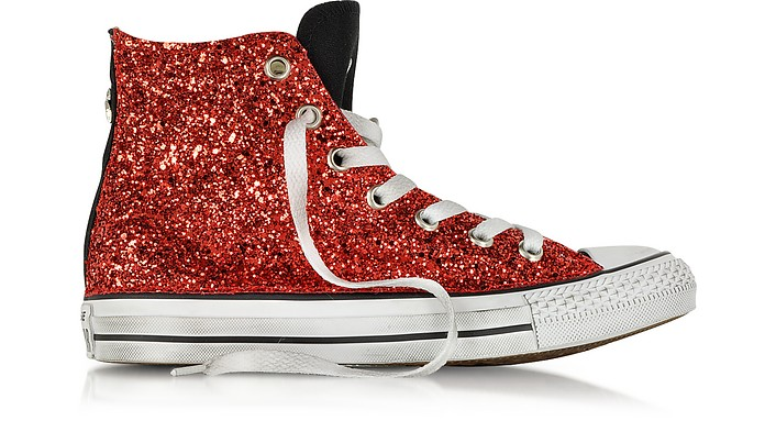 All Star Hi Black Canvas w/Red Glitter LTD Sneaker - Converse Limited Edition